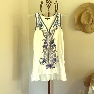 Beachy boho embroidered cover-up/sundress